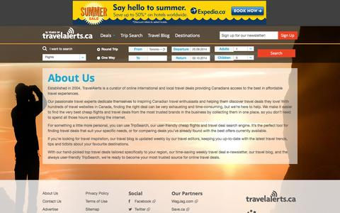 Screenshot of About Page travelalerts.ca - About Us | Travelalerts - captured Sept. 19, 2014