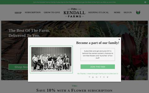 Screenshot of Home Page kendall-farms.com - Kendall Farms™ Flower Delivery, Farm Flower Subscriptions, Wedding Flowers - captured Oct. 15, 2018