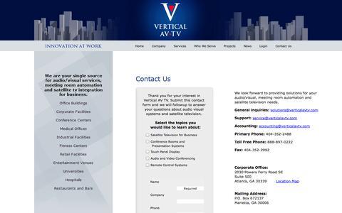 Screenshot of Contact Page verticalavtv.com - Contact Us To Discuss Your Commercial AV Needs - captured Oct. 26, 2014