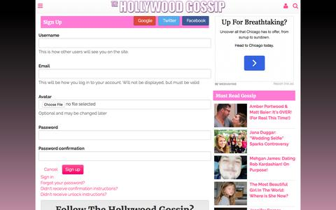 Screenshot of Signup Page thehollywoodgossip.com - Register - The Hollywood Gossip - captured June 1, 2017
