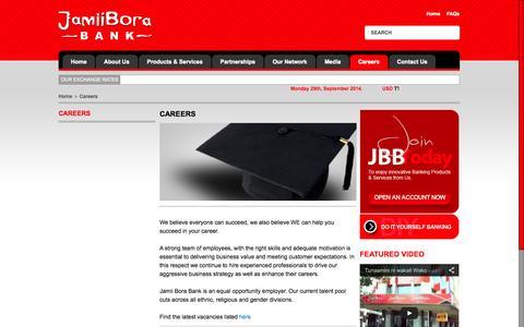 Screenshot of Jobs Page jamiiborabank.co.ke - Careers | Jamii Bora Bank - captured Sept. 30, 2014