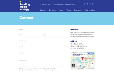 Screenshot of Contact Page leadingedgeenergy.com.au - Leading Edge Energy - Contact us for a free quote today - captured July 17, 2018