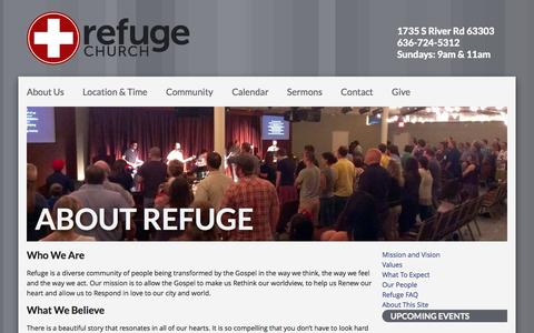Screenshot of About Page seekrefuge.net - About Refuge – Refuge Church - captured Oct. 1, 2014