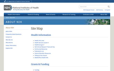 Screenshot of Site Map Page nih.gov - Site Map | National Institutes of Health (NIH) - captured Aug. 19, 2016