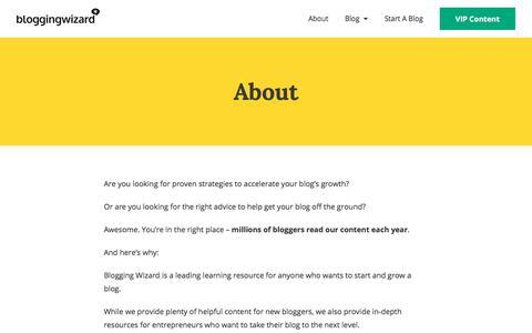 Screenshot of About Page bloggingwizard.com - About Blogging Wizard And Adam Connell | Blogging Wizard - captured Jan. 20, 2020