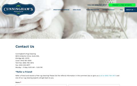 Screenshot of Contact Page rugcleaning.net - Contact Us | Cunninghams Rug Cleaning - captured Sept. 30, 2018