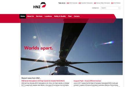 Screenshot of Home Page hnzglobal.com - HNZ Global | Offshore oil and gas helicopter services, fire suppression, Antarctic support, border protection - captured July 14, 2018