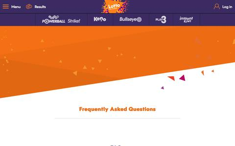 Screenshot of FAQ Page mylotto.co.nz - MyLotto - captured June 27, 2017
