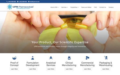 Screenshot of Home Page upm-inc.com - UPM Pharmaceuticals - Formulation Development, CDMO - captured Nov. 19, 2016