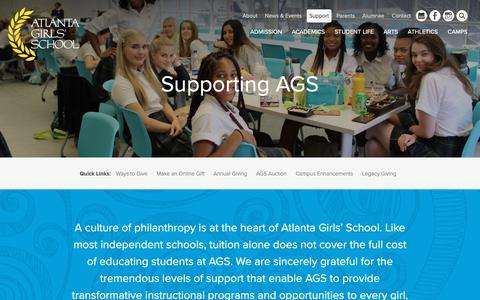 Screenshot of Support Page atlantagirlsschool.org - Supporting AGS - Atlanta Girls' School - captured Nov. 6, 2018