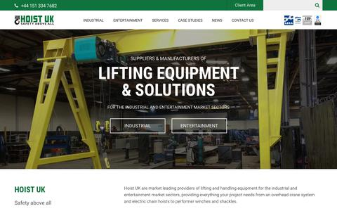 Screenshot of Home Page hoistuk.com - Hoist UK - Industrial & Entertainment Lifting Equipment - captured July 20, 2018