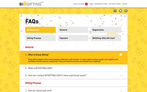Screenshot of FAQ Page bitgifting.com - Gift Card, Birthday, Gift Cards, Physical Gift Card | BITGIFTING - captured Oct. 4, 2014