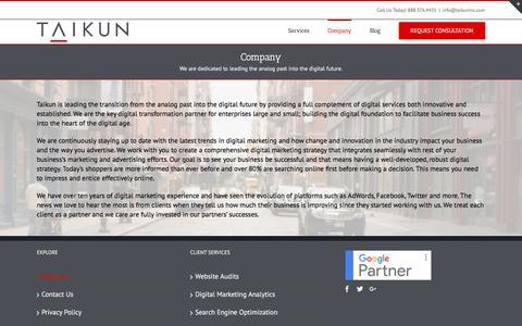 Screenshot of About Page taikuninc.com - About Us - Taikun Inc. - captured Nov. 14, 2017