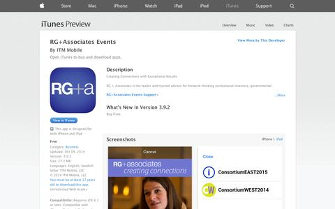 Screenshot of iOS App Page apple.com - RG+Associates Events on the App Store on iTunes - captured Nov. 5, 2014