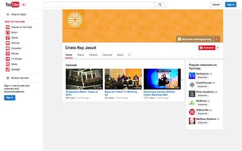 Screenshot of YouTube Page youtube.com - Cristo Rey Jesuit  - YouTube - captured Oct. 22, 2014