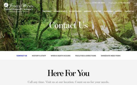 Screenshot of Contact Page jones-wynn.com - Contact Us   Jones-Wynn Funeral Home, GA - captured Oct. 14, 2018