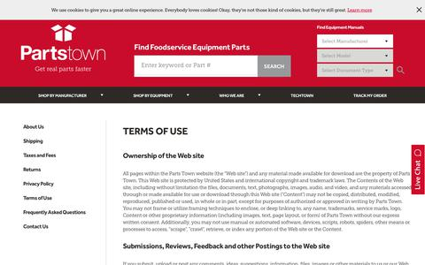 Screenshot of Terms Page partstown.com - Terms and Conditions | Parts Town - captured Dec. 19, 2018