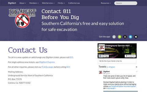 Screenshot of Contact Page digalert.org - DigAlert.org - Contact Us - captured June 30, 2018
