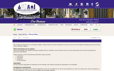 Screenshot of Privacy Page whitchurchstouffville.ca - Privacy Policy - captured Oct. 26, 2014