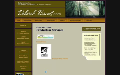 Screenshot of Products Page deborahburnett.com - Deborah Burnett, ASID | Health & Wellness Design Authority | Articles and Resource Links | Design & Construction Articles - captured Feb. 9, 2016