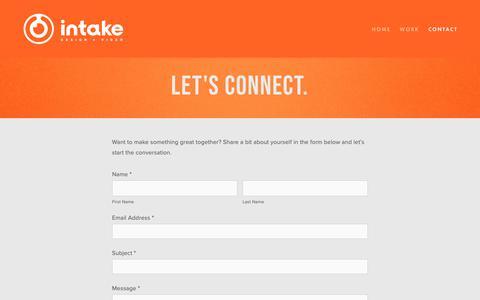 Screenshot of Contact Page intakestudios.com - Contact — Intake - captured Oct. 12, 2018