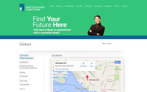 Screenshot of Contact Page saultcareercentre.ca - Contact   Sault Community Career Centre - captured Oct. 4, 2014