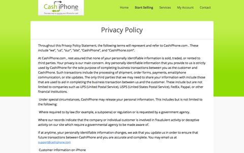 Screenshot of Privacy Page cashiphone.com - CashiPhone - Privacy Policy - captured Oct. 2, 2014
