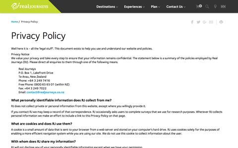 Screenshot of Privacy Page realjourneys.co.nz - Real Journeys NZ: Privacy Policy - captured Dec. 5, 2016