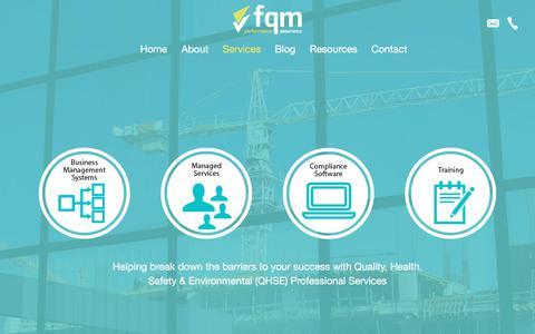Screenshot of Services Page fqmltd.com - Services - FQM Limited - captured June 5, 2017