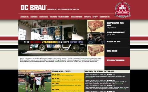 Screenshot of Home Page dcbrau.com - ::: DC Brau Brewing Company ::: - captured Feb. 8, 2016