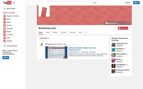 Screenshot of YouTube Page youtube.com - Bookstores.com  - YouTube - captured Oct. 23, 2014