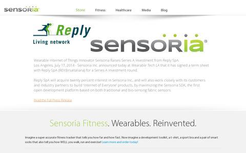 Screenshot of Home Page heapsylon.com - Sensoria Inc. - captured July 17, 2014
