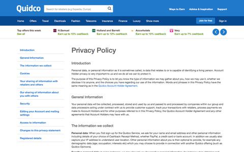 Screenshot of Privacy Page quidco.com - Quidco - The UK's #1 Cashback Site - captured Feb. 11, 2018