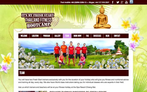 Screenshot of Team Page thailandfitnessbootcamp.com - The Fresh Start Thailand Fitness Boot CampTeamFresh Start :: Thailand Fitness Bootcamp - captured Feb. 10, 2016
