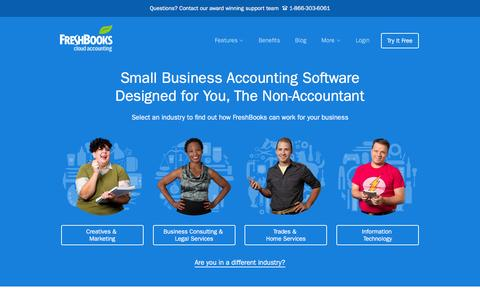 Screenshot of Home Page freshbooks.com - Small Business Accounting Software in the Cloud 						| FreshBooks - captured Dec. 18, 2015