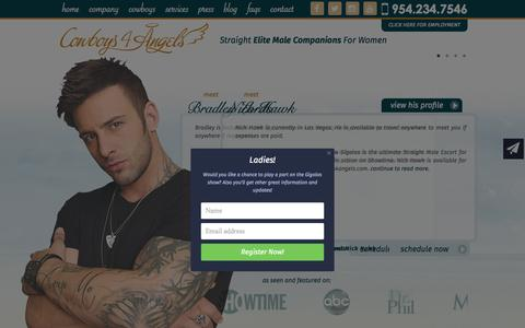 Screenshot of Home Page cowboys4angels.com - Elite Male Escorts, Male Companions, Male Strippers - captured Sept. 19, 2015