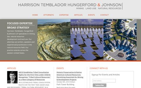 Screenshot of Home Page hthjlaw.com - Mining - Land Use - Natural Resource Law - captured Oct. 2, 2014
