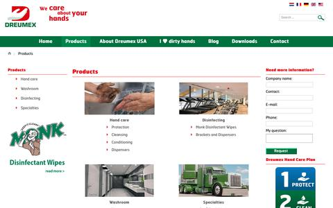 Screenshot of Products Page dreumex.com - US - captured Nov. 6, 2018
