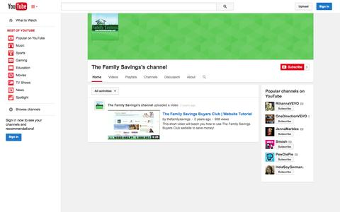 Screenshot of YouTube Page youtube.com - The Family Savings's channel  - YouTube - captured Oct. 29, 2014