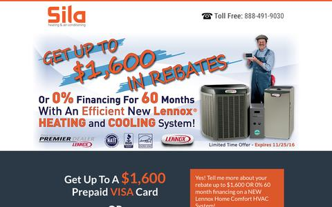 Screenshot of Landing Page sila.com - Heating | Cooling System Rebates With Special Financing - captured Oct. 13, 2016