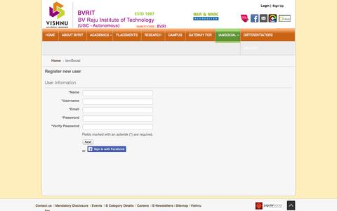 Screenshot of Signup Page bvrit.ac.in - Register new user - captured Sept. 23, 2014