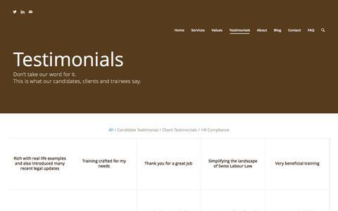 Screenshot of Testimonials Page belegaltax.com - b.e. legal and tax recruitment |   Testimonials - captured Nov. 23, 2016