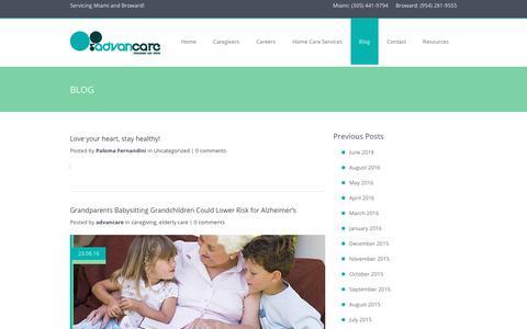 Screenshot of Blog advancare.net - Elder Care Blog   Advancare - captured Nov. 12, 2018
