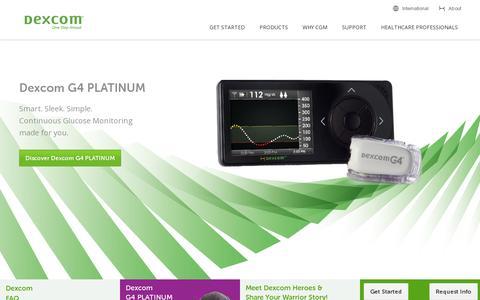 Screenshot of Home Page dexcom.com - Dexcom Continuous Glucose Monitoring | Dexcom CGM | Learn More - captured July 17, 2014