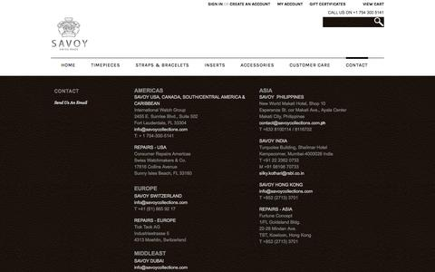 Screenshot of Contact Page savoywatches.com - Contact - captured Oct. 29, 2014