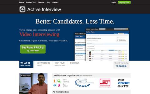 Screenshot of Home Page activeinterview.com - Video Interviewing | Active Interview - captured Sept. 26, 2014