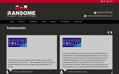 Screenshot of Testimonials Page ransomefleetsolutions.co.uk - Testimonials // Ransome Fleet - captured Nov. 3, 2014
