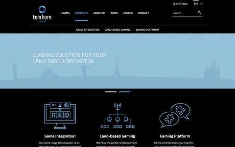 Screenshot of Products Page tomhorn.eu - Online casino, land based, games integration, consultancy  | Tom Horn Gaming - captured Feb. 16, 2016