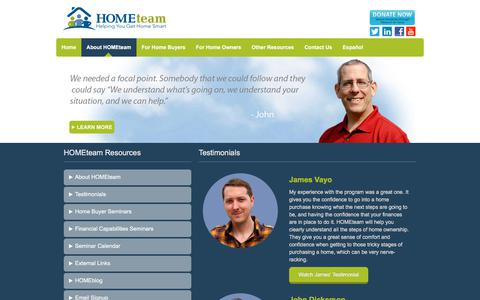 Screenshot of Testimonials Page hometeamnh.org - Testimonials   HOMEteam - captured Sept. 25, 2018
