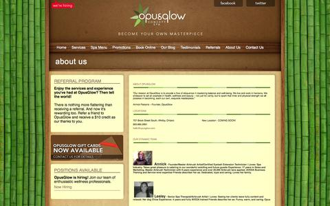 Screenshot of About Page opusglow.com - About Us | Opusglow Concept Spa - captured Oct. 7, 2014